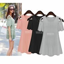 Casual Women XL-5XL Plus Size Slim Short sleeve Shoulder Loose Tops Mini Dress