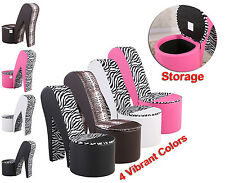 Funky Stiletto High Heel Shoe chairs in Faux Soft Leather Ottoman Storage Chair