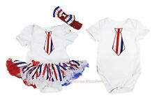 4th July RWB Stripe Neckerchief Baby Dress White Bodysuit Twins Set NB-12Month