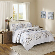 BEAUTIFUL REVERSIBLE CLASSIC VINTAGE CHIC COTTAGE WHITE BLUE FLORAL QUILT SET