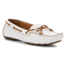 Clarks Artisan Dunbar Racer Women's Leather Moccasins Shoes Style 63826 White