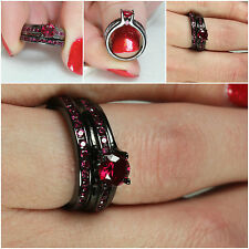 Gothic Black Solitaire W/ Accents Pink Sapphire Womens Wedding Bridal Ring Set
