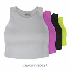 Ladies New Womens Round Neck Sleeveless Fit Plain Casual Summer Short Top 6-12