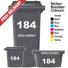3 x Wheelie Bin Numbers Stickers, Self Adhesive Stick On. Available ,colours, 4""