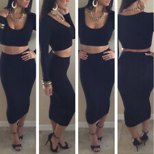 Women Crop Top and Skirt Clothing Set Sexy Two-piece Clubwear Bodycon Dress New