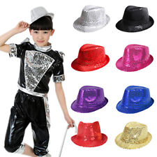 Kid Shining Sequin Fedora Trilby Hat Boys Girls Sequined Glitter Dance Party Cap