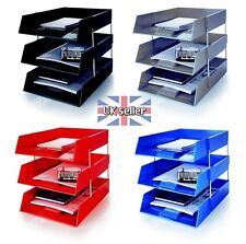 3 A4 Letter Filing Desk Trays + Risers - Stacking Paper- Office Stationery