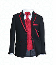 New Boys 4 PC Black & Red Boys Suits - Page Boy Suit