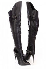 Black Leather Strappy Stylish Sexy Stiletto Heel Thigh High Boots, US 6, 6.5, 7