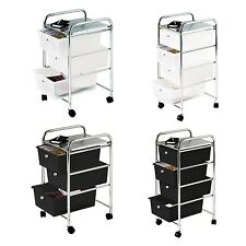 3 / 4 Drawers Storage Trolley Bathroom Salon Kitchen Trolley Chrome Steel Frame