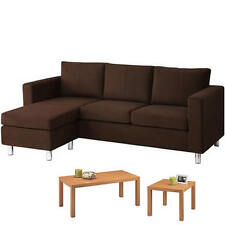 Sectional Sofa Couch Faux Leather Microfiber Chaise Ottoman Living Room  Bundle