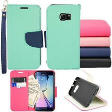 For Samsung Galaxy S6 Edge Wallet Pouch Cover Case PU Leather Stand Two Tone