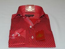 Men AXXESS Cotton Shirt Turkey Spread High Collar 05-405 Red white Polka Dot NEW