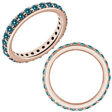 0.45 Carat Blue Diamond Wedding Eternity Beaded Classic Band 14K Pink Gold