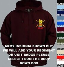 3ZHM ARMY REGIMENT SQUADRON CORPS INSIGNIA ZIP UP HOODY XS - 5XL SHIRT PWRR123