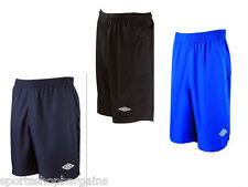 Mens Umbro Gym Sports Football Training Shorts Premier Black Navy Blue Size New