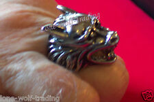 """Large"" Mens Stainless Steel Wolf Biker Ring"