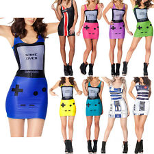 Womens Tight 3D Game Over Print Stretch Bodycon Summer Vest Top Dress
