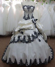 STOCK White Black Embroiderd Bride Gown Wedding Dress Size 6-8-10-12-14-16-18