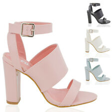 LADIES BLOCK HEEL ANKLE STRAP SANDALS WOMENS STRAPPY CHUNKY PARTY PROM SHOES 3-8