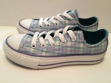 New Converse Youth/Girls Sneakes Baby Blue/Plaid Fabric Lace-Up Size 11