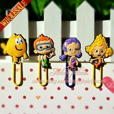 4PCS Bubble Guppies Cartoon Bookmarks,PVC Paper Clips School Supplies Stationery