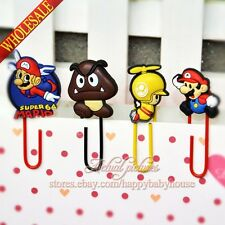 4PCS Super Mario Bros Cartoon Bookmarks,Paper Clips for Books Pages Holder Gifts