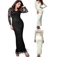 Formal Evening Party Gown Long Sleeve Floral Lace Elastic Bodycon Maxi Dress