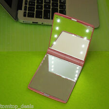 Beauty LED Make Up Mirror Cosmetic Folding Compact Pocket Mirror with 8 Lights