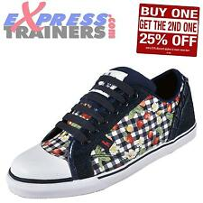 Babycham Womens Girls Padstow Gingham Lace Up Plimsoll Trainers Navy *AUTHENTIC*