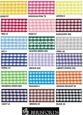 BERISFORDS GINGHAM CHECK RIBBON 15MM WIDE 18 COLOURS- 1 METRE TO A FULL ROLL