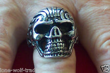 "Men's ""Large"" Stainless Steel Tribal Skull Fang Ring Sizes 9-20"