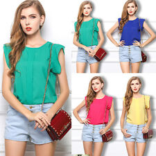 NEW Fashion Womens Solid Blouse Sleeveless Vest Loose Tops Shirts T-Shirt Tank