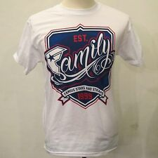 FAMOUS STARS & STRAPS White And Blue Cotton Short Sleeve Graphic Family T-shirt