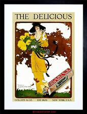 AD TOOTHPASTE HEALTH BEAUTY WOMAN YELLOW DRESS FLOWERS FRAMED PRINT F12X2471