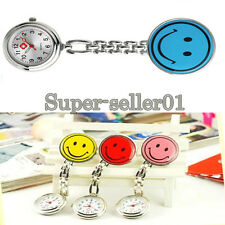 Smiley face nurses table with clip fob watch smile metal pin type pocket watch