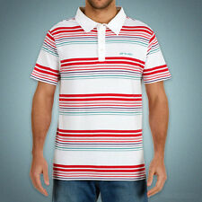 Animal Men's Stripe Polo Shirt 100% Cotton T-Shirt - White - Size XS - New