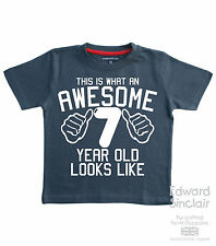 THIS IS WHAT AN AWESOME 7 YEAR OLD LOOKS LIKE Boys 7th Birthday T-shirts