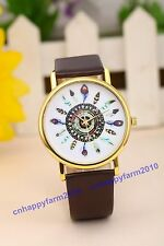 New Color Peacock feathers Golden Dial Leather Band Women Quartz Wrist Watches