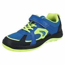Boys Clarks Bolt Aeon Inf & Jnr Blue Combi Synthetic strap Trainers