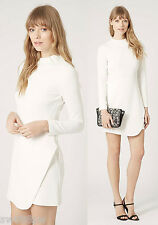 £48 TOPSHOP White High Neck Asymmetric Wrap Tailored Dress Skirt 8 10 12 14 16