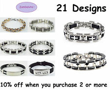 27 DESIGNS - Mens Unisex Stainless Steel, Silicone, Bracelet, Bike Chain, ID