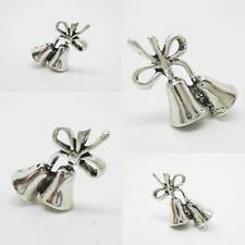 Wedding Bells Bow 925 Sterling Silver Charm Pendant w Spacer / Bracelet or Chain