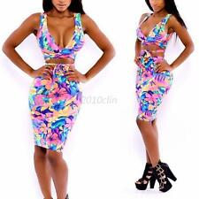 Women Bodycon Slimming Illusion Bandage Two Piece Crop Top and Skirt Dress C58