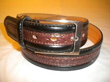 BRAND NEW MENS LEATHER BELT COMBINATION OF BLACK AND BROWN 1 1/2 IN WIDE