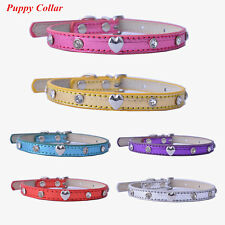 Diamante Collar Puppy Dog Collar Leather Collars For Dogs XS Pet Supplies