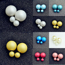 1pair Fashion Jewelry Crystal Double Sided Pearl Earings Ear Stud Ball Beads CA