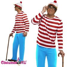 Smiffys Mens Wheres Wally Costume Where's Wally Waldo Adult Cartoon Fancy Dress