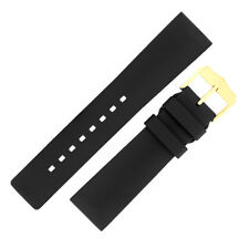 Hirsch PURE Natural Caoutchouc Rubber Waterproof Watch Strap and Buckle in BLACK