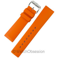 Hirsch PURE Natural Caoutchouc Rubber Waterproof Watch Strap and Buckle - ORANGE